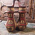 Ancienne Gargoulette Vase Double à Anse Poterie <b>Kabyle</b> Grande <b>Kabylie</b> / Ref K13