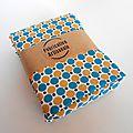 tote bag clocréations-pois bleu-jaune3