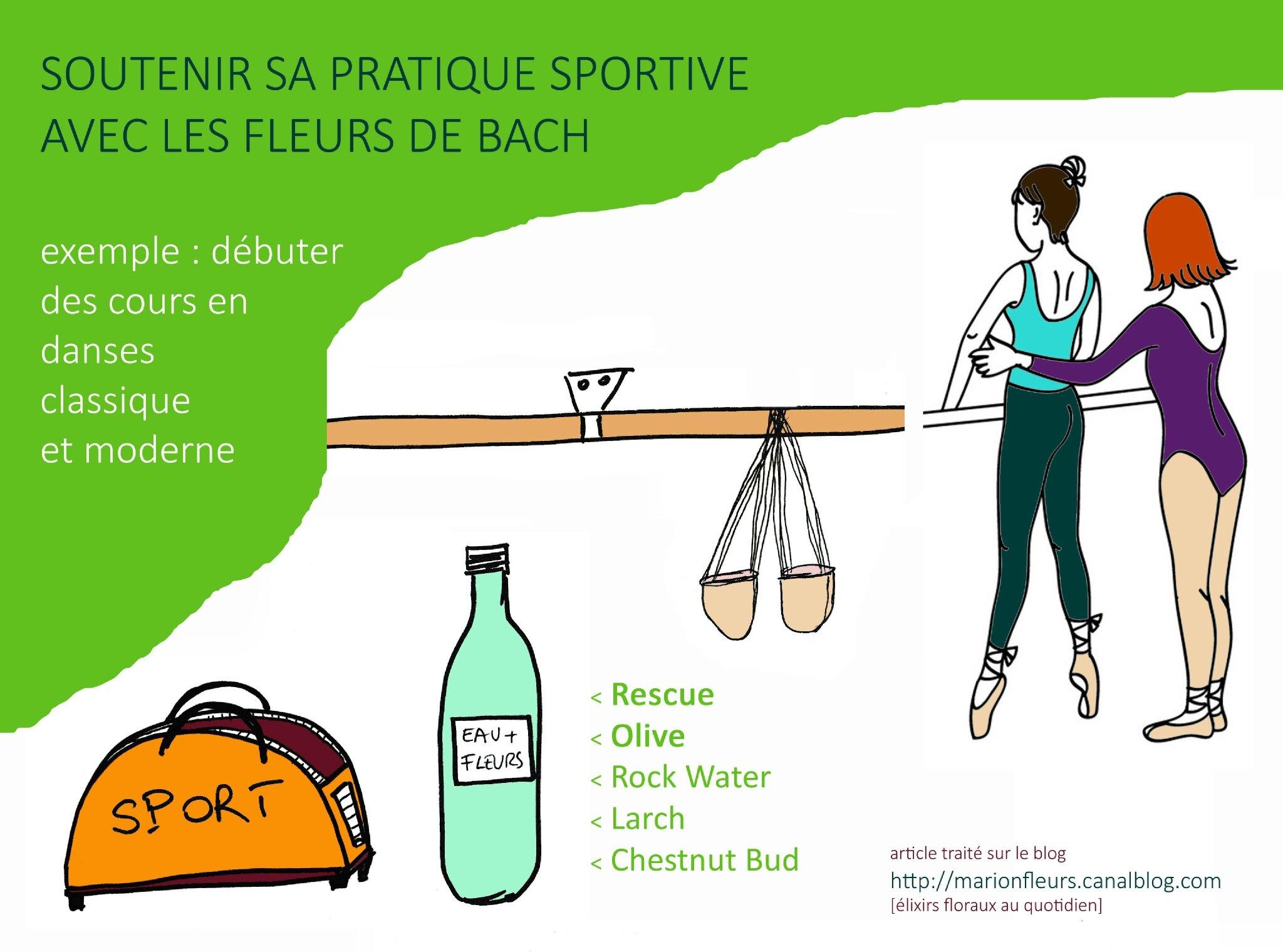 Soutenir sa pratique sportive avec les élixirs floraux / FDB : Rescue, Olive, Rock Water, Larch, Chestnut Bud