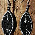 Boucles d'oreilles feuilles en tissu et feutrine