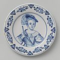 Dish with a portrait of <b>Prince</b> <b>William</b> as a child, faceless, Delft, 1658