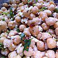 Salade de pois chiche, fêta et tomates séchées