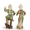 Two sancai-glazed figures of Lokapalas, Tang dynasty (<b>618</b>-<b>907</b>)