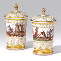 A very rare pair of Meissen covered tobacco jars. Circa <b>1725</b>