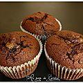 Muffins chocolat coeur de bananes caramélisées