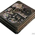 A rectangular, black lacquered box with mother-of-pearl <b>inlays</b>, (luodian), China, late Ming (1368-1644) or early Qing dynasty (1