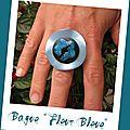 Bague fleur bleu (B124)