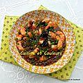 Crevettes, petits légumes à la <b>sauce</b> chinoise