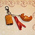 Bijou de sac croissant et pain chocolat, ruban orange (N)