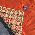 <b>Bout</b> de <b>lit</b>, sofa cover, plaid, mini édredon, jeté de canapé,réversible, velours rouille et coton block print