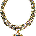 A diamond and <b>carved</b> <b>emerald</b>-set enamelled necklace, India, 19th-20th century