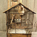 Ancienne <b>Cage</b> <b>à</b> <b>Oiseaux</b> XIXème Bois, Métal et Zinc