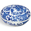 A blue and white <b>sweetmeat</b>' <b>box</b> and cover, Mark and period of Wanli (1573-1619)
