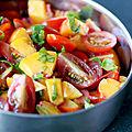 Salade de tomates cerises et nectarine