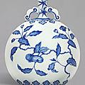 A fine <b>blue</b> <b>and</b> <b>white</b> <b>Ming</b>-<b>style</b>'persimmon' moonflask, Qing dynasty, Yongzheng period (1723-1735)