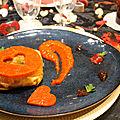 feuilleté de brick ,Compotée d'<b>oignons</b> aux raisins secs ,anchois, chèvre , poivre Timut