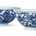 A pair of <b>blue</b> <b>and</b> <b>white</b> '<b>Immortals</b>' <b>bowls</b>, Seal marks <b>and</b> period of Daoguang (1821-1850)