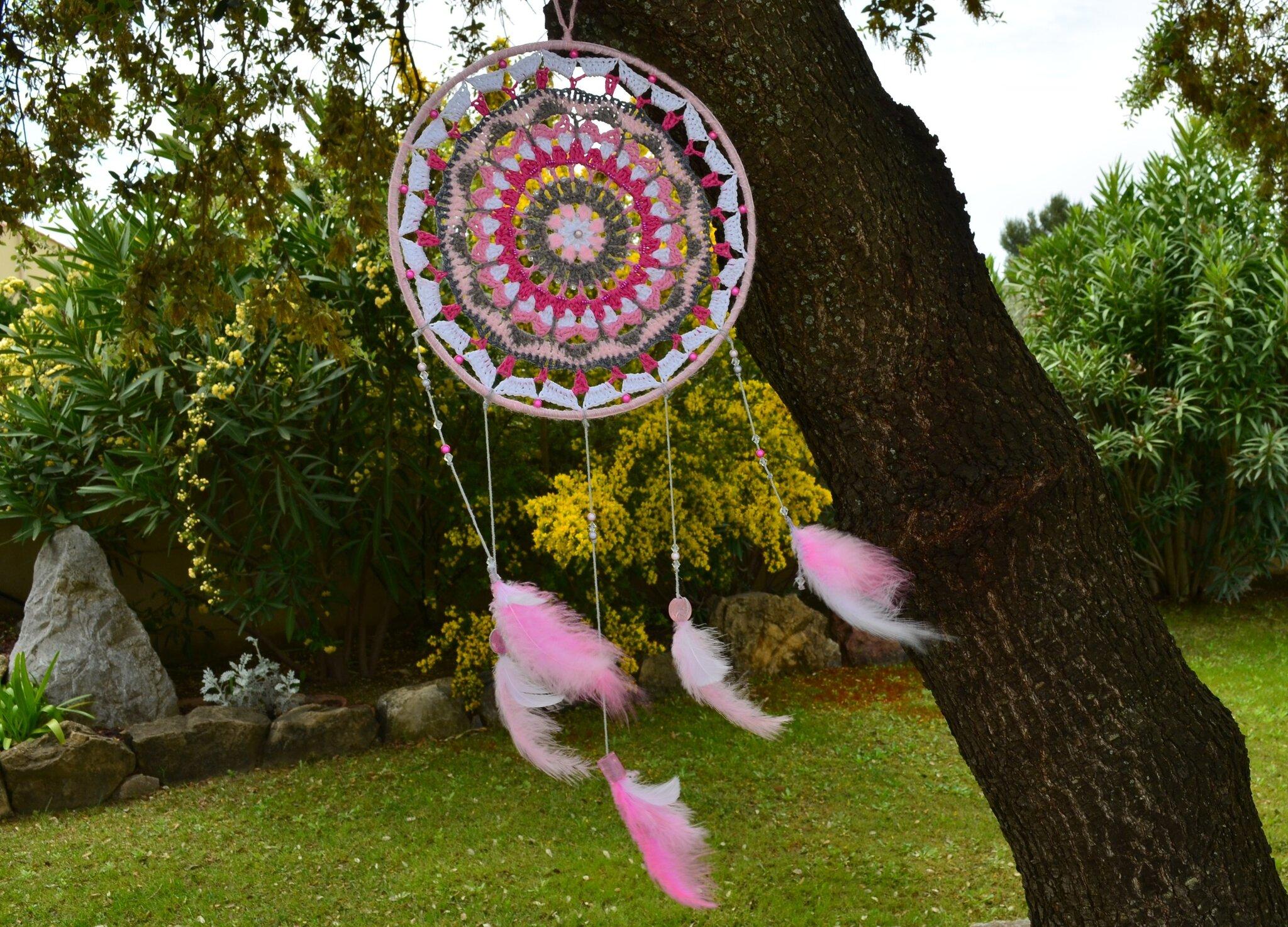 attrape_reve_mandala_crochet_perle_rose_La_chouette_bricole