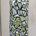 Tunique sans manches imprimé blanc noir vert phildar taille m