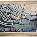 Tableau marine bateaux barques signé marra fauviste