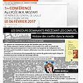 Forum arts et culture des citoyens, conference le 6 fevrier 2017 a partir de 19 h au lycee w.a. mozart