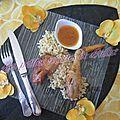Fricassée de poulet au vinaigre de famboise et vanille de madagascar