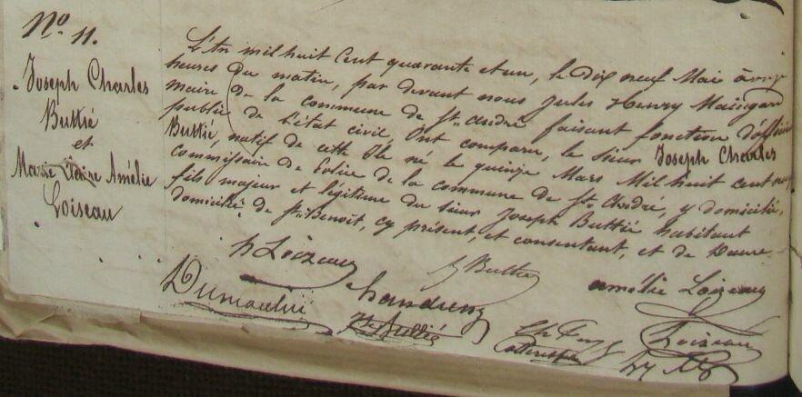 Buttié Joseph Charles & Marie Claire Amélie Loiseau_Mariage 19.5.1841