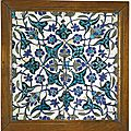 A <b>Damascus</b> pottery tile, Syria, late 16th-early 17th century
