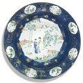 A large Chinese famille-verte dish, Qing Dynasty, Kangxi period