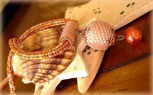 Herringbone, Beaded Bead & Murano