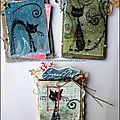 Des réas pour <b>Katzelkraft</b> / Some chunky ATCs and a little Christmas hanging for <b>Katzelkraft</b>