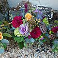Bouquet centre de table Lotus, Dahlia et Rose