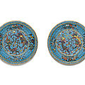 A pair of cloisonné <b>enamel</b> dishes, Ming dynasty, late 16th century