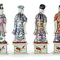 A group of four chinese export porcelain famille-rose figures of immortals, qianlong period, circa 1770