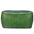 A Cizhou Green-Ground Grisaille-Decorated Pillow, <b>Northern</b> <b>Song</b> <b>Dynasty</b>, 960-1126