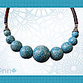 Collier effet mosaïque turquoise dif taille (N)