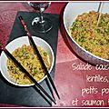 Salade de couscous, lentilles, petits pois et saumon