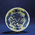 A fine and rare small yellow-ground blue and white bowl, wanli six-character mark within double-circles and of the period
