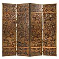 A <b>Dutch</b> parcel-gilt and polychrome-painted embossed leather four-fold screen, 19th century
