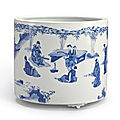 A large blue and white 'Seven Sages' <b>brushpot</b>, Qing dynasty, Kangxi period (1662-1722)