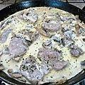 Filet mignon a la creme d'ail et champignons