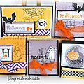 Carte et badges halloween dans leur pochettes
