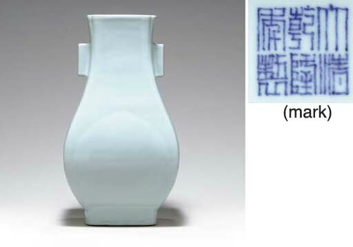 A fine guan-type vase of fanghu form, Qianlong seal mark in underglaze blue and of the period (1736-1795)
