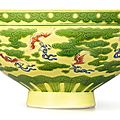 A rare yellow and green 'Bat' bowl with polychrome details, Mark and period <b>of</b> Yongzheng (1723-1735)