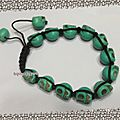Bracelet Shamballa - 14 perles <b>tête</b> de <b>mort</b> Turquoise