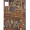 A magnificent gilt-lacquered <b>zitan</b>-<b>veneered</b> display cabinet, Qing Dynasty