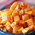 Courge butternut, patate douce et oignons rouges aux épices et graines