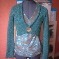 Cache-coeur en laine Wilky, col. Pinède, modèle issu du Tendances Phildar Automne 2006