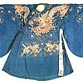 Blue <b>Silk</b> <b>Robe</b> Embroidered with Dragon Design, 14th Century - 17th Century, Ming Dynasty