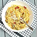 Spaghetti aux artichauts et tomates confites